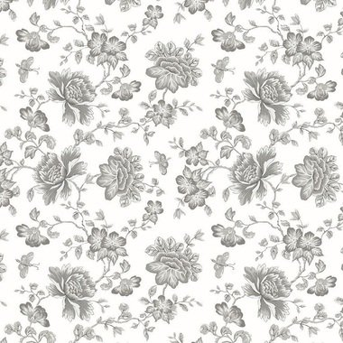 Blendworth Fabled Floral Grey-White 001