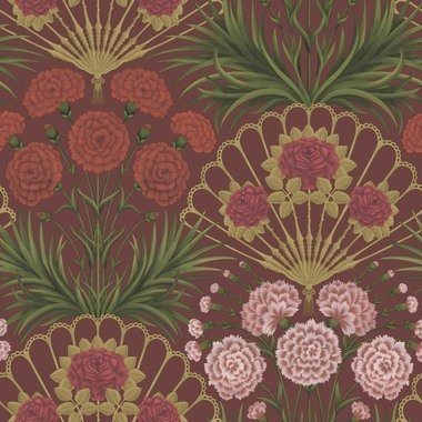 Cole & Son Flamenco Fan Rose-Bright Rouge-Metallic Gold-Crimson 117-14046