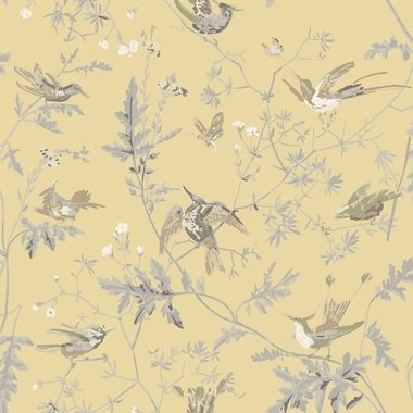 Cole & Son Hummingbirds Silk Gold-Soft Grey F111-1001