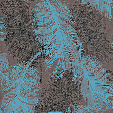 Coloroll Feather Choc Teal M0961