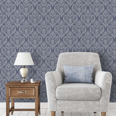 Crown Calico Damask Linen Blue M1307