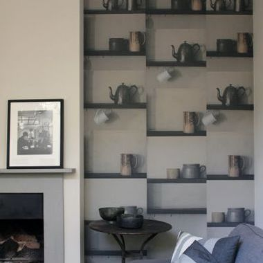 Deborah Bowness Shelf Wallpaper Grey
