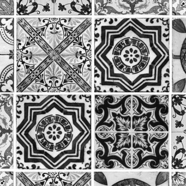 Debbie Mc British Design Lisbon Tile Black-White