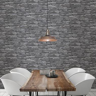 Fine Decor Stacked Slate Charcoal 2701-22352