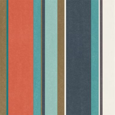 Harlequin Bella Stripe Coral-Gold-Turquoise 111506