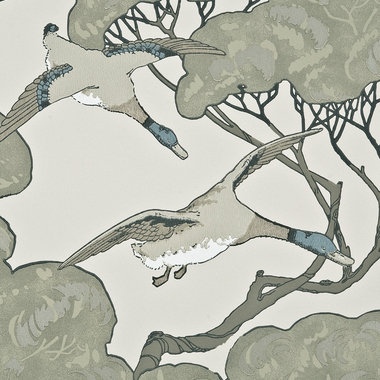 Mulberry Home Flying Ducks Silver-Taupe FG066-J80
