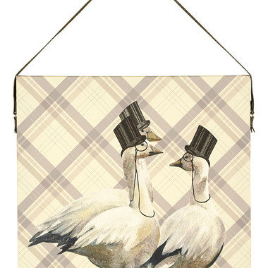 S.J. Dixon Top Hat & Tails Printed Canvas With Faux Leather Hanging Strap 003699
