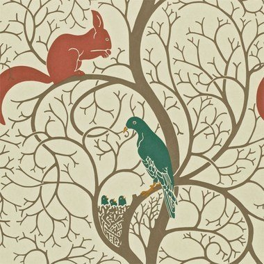 Sanderson Squirrel & Dove Teal-Red DVIWSQ102