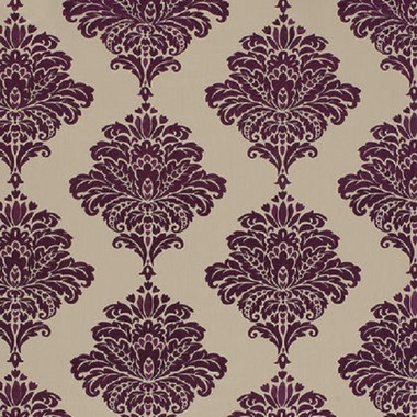 Thibaut Arturo Damask Dark Purple on Flax W713016