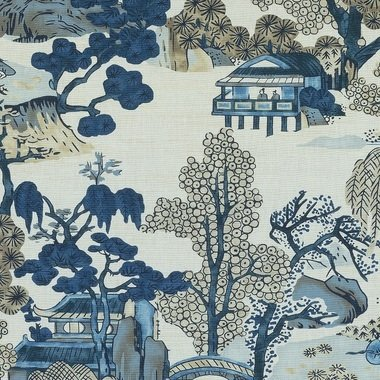 Thibaut Asian Scenic Blue and Beige F975461