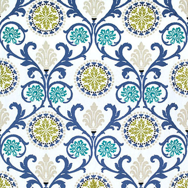 Thibaut Banyan Embroidery Green and Blue W764103