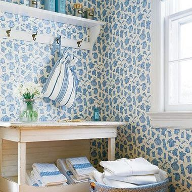 Thibaut Duds Blue on White T5129
