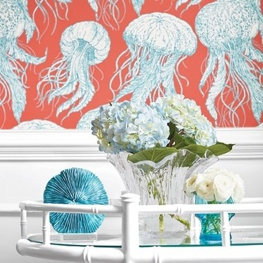 Thibaut Jellyfish Bloom Coral-Turquoise T13172