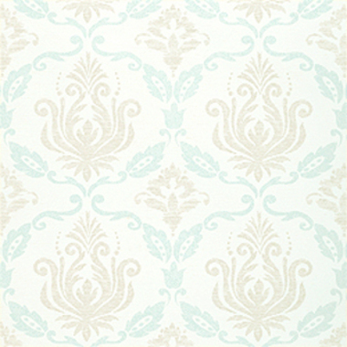 Thibaut Julie Damask Off White and Aqua T4768