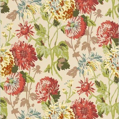 Thibaut Longwood Cranberry on Linen F94128
