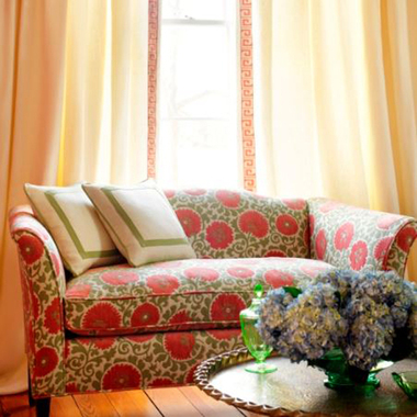 Thibaut Suzani Coral and Green F98699
