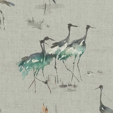 Voyage Cranes Cobalt Linen Fabric