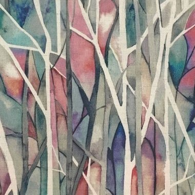 Forest Print. Danbury Pomegranate by Voyage Designer Printed Curtain Fabric