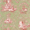 Thibaut Springfield Toile Pink on Green T6907 Thumbnail