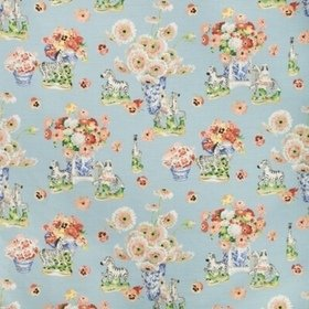 Brunschwig & Fils Gillian S Zebras Cotton And Linen Print Sky BR79653-15
