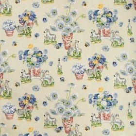 Brunschwig & Fils Gillian S Zebras Cotton And Linen Print Vanilla BR79653-1