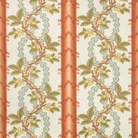 Brunschwig & Fils Josselin Cotton And Linen Print Spice-Celadon BR79510-123