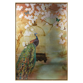 S.J. Dixon Suki Peacock Framed Metallic Canvas 004758