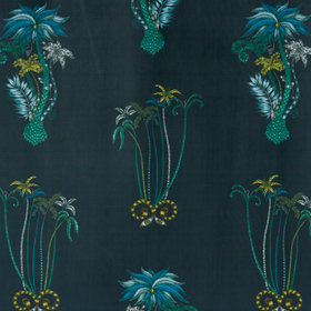 Emma J Shipley For Clarke & Clarke Jungle Palms Navy Velvet F1209-01