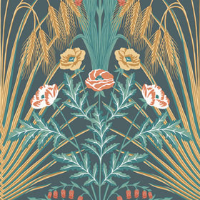 Cole & Son Bluebell Teal-Metallic Gold-Coral-Petrol 115-3010