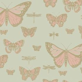 Cole & Son Butterflies & Dragonflies Pink-Olive 103-15063