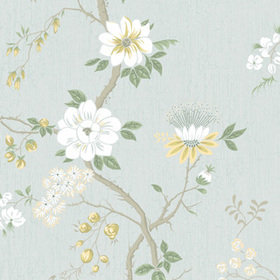 Cole & Son Camellia Lemon-Sage-Print Room Blue 115-8025