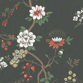 Cole & Son Camellia White-Red-Charcoal 115-8026