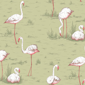 Cole & Son Flamingos Olive 112-11038