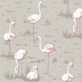 Cole & Son Flamingos White-Fuchsia-Taupe 66-6042
