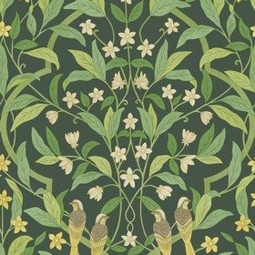 Cole & Son Jasmine & Serin Symphony Yellow-Leaf Green-Dark Forest 117-10029