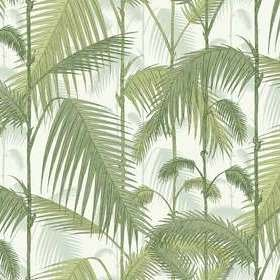 Cole & Son Palm Jungle Linen Union Olive-White F111-2007LU