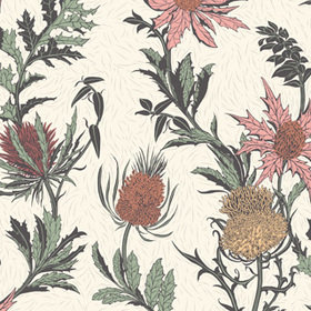 Cole & Son Thistle Alabaster Pink-Orange-Parchment 115-14043