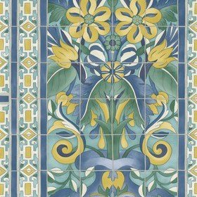 Cole & Son Triana Canary Yellow-China Blue-Teal 117-5013