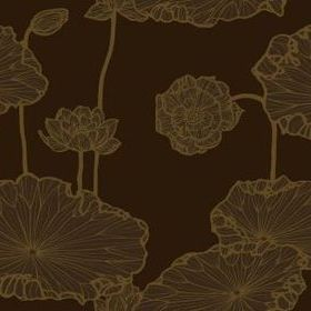 Cole & Son Water Lily Chocolate-Gold 89-5022