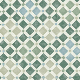 Cole & Son Zellige Olive-Print Room Blue 113-11033