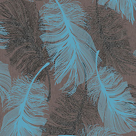 Coloroll Feather Choc-Teal M0961