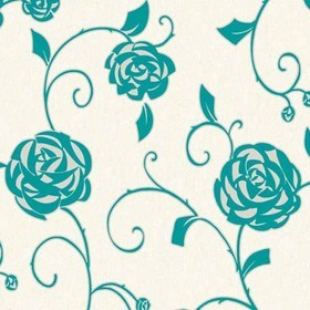Crown Gilt Rose Teal M0770