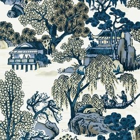 Thibaut Asian Scenic Blue and Beige T75461