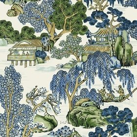 Thibaut Asian Scenic Blue and Green T75462