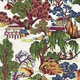 Thibaut Asian Scenic Coral and Green T75464