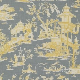 Thibaut Cheng Toile Yellow and Grey T75470