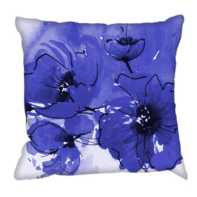 Debbie Mc British Design Indigo Poppy Cushion