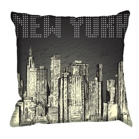 Debbie Mc British Design New York Poster Cushion
