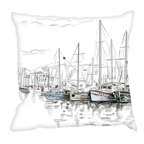 Debbie Mc British Design Sailing Sketch Cushion