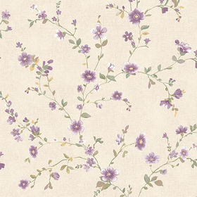 Fine Decor Delphine Plum Floral Trail 2657-22250